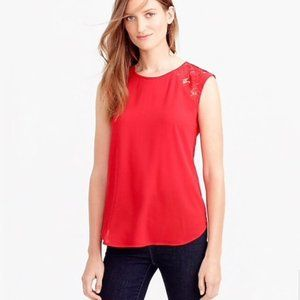 JCrew Red Lace Capsleeve Blouse